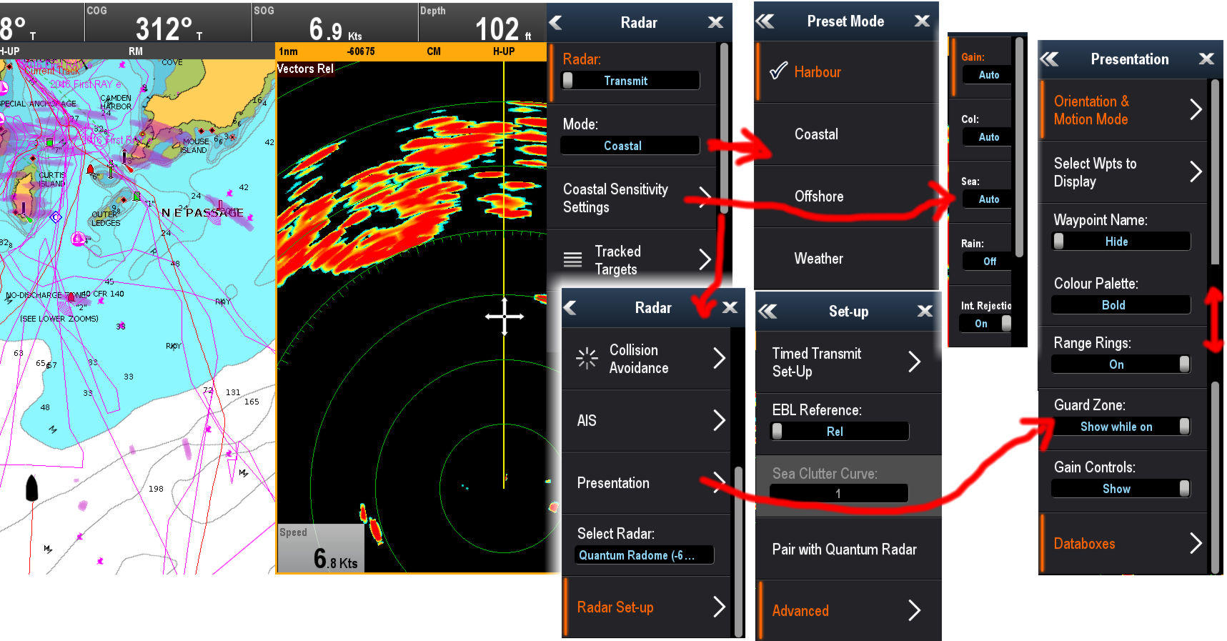 Raymarine_Quantum_radar_menu_collage